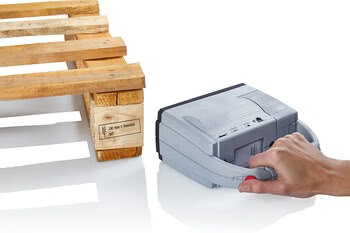 Handheld inkjet printing on pallets